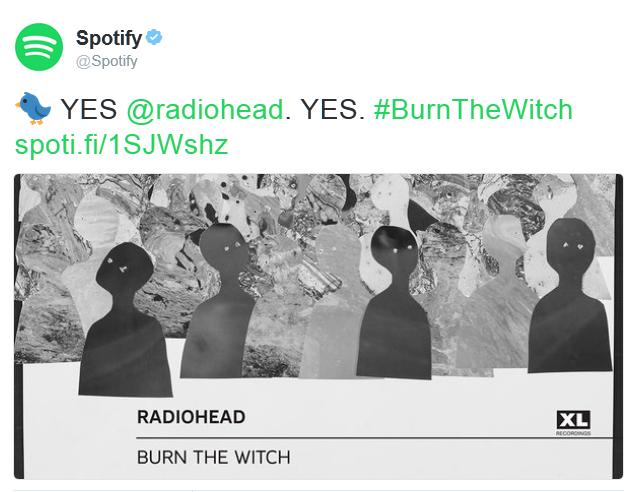 "Spotify, dal suo profilo ufficiale, ha twittato ""Yes Radiohead, yes"""